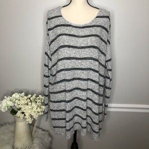 FREE PEOPLE Oversized Gray Black Stripe Sweater XS